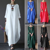 Dress Spring of 2019 White, red, green, blue, black L,XL,2XL,3XL,4XL,5XL longuette elbow sleeve Crew neck Loose waist Socket other 18-24 years old Other / other 30% and below brocade hemp