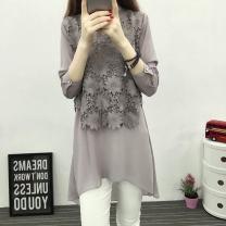 Women's large Autumn 2020 Light gray, black, one warehouse dress Large XL (115-135 Jin), large 2XL (135-160 Jin), large 3XL (165-180 Jin), m (80-95 Jin), l (95-110 Jin), 4XL (180-200 Jin) Dress commute easy moderate Socket Long sleeves Solid color Korean version V-neck Medium length cotton Collage