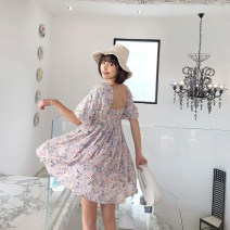 Dress Spring 2021 Pre sale of ink and wash flowers S,M,L Short skirt singleton  Short sleeve Sweet other High waist Pleated skirt other Type A C20A18009X