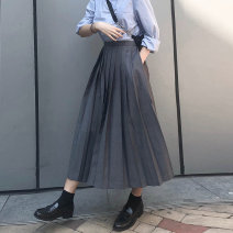 skirt Spring 2021 S,M,L,XL,2XL Black, gray longuette Retro High waist Pleated skirt Solid color Type A 18-24 years old TTG998 91% (inclusive) - 95% (inclusive) other Other / other polyester fiber Folds, pockets