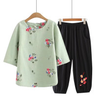 Middle aged and old women's wear Summer 2020 commute suit easy Two piece set Retro Design 40-49 years old Socket thin Crew neck routine routine Other / other Embroidery cotton 96% and above Cropped Trousers Retro