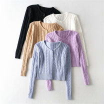 Wool knitwear Autumn 2020 S.,M. Black, white, purple, camel, haze blue Long sleeves singleton  Cardigan other 31% (inclusive) - 50% (inclusive) have cash less than that is registered in the accounts routine street Self cultivation Low crew neck routine Solid color Single breasted 18-24 years old