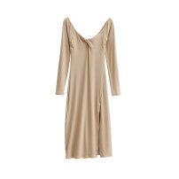 Dress Autumn 2020 Black, brown, light khaki, iron gray S.,M. longuette singleton  Long sleeves commute High waist Solid color Cotton Village 81% (inclusive) - 90% (inclusive)