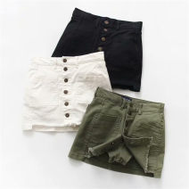 skirt Summer of 2019 S,M,L White, black, army green Short skirt street High waist skirt Solid color 71% (inclusive) - 80% (inclusive) other other Splicing Europe and America
