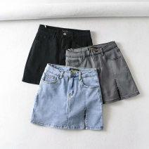 skirt Summer 2020 XS,S,M,L Light blue, gray, black, dark blue Short skirt street High waist skirt Solid color 51% (inclusive) - 70% (inclusive) other other Splicing