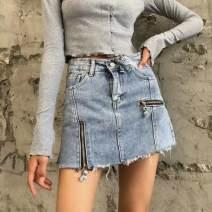 Jeans Autumn 2020 Dark grey, dark blue, light blue XS,S,M,L shorts High waist Haren pants Thin money 18-24 years old Make old, wash, grind white, metal decoration Cotton elastic denim light colour