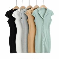 Dress Spring 2021 White, black, light gray, green, khaki S, M street High waist Solid color 30% and below Europe and America