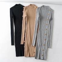 Dress Autumn 2020 Black, gray, khaki Average size longuette singleton  Long sleeves street Half high collar High waist Solid color Socket routine