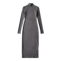 Dress Spring 2021 Black, dark grey, brown S, M longuette Long sleeves street Solid color Socket routine Europe and America