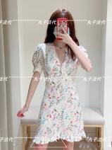 Dress Summer 2021 white 34=XS,36=S,38=M,40=L Short skirt singleton  Short sleeve V-neck routine MAJE MFPRO01702 More than 95% cotton