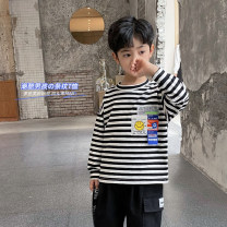 T-shirt Black and white bar Haima house 110cm,120cm,130cm,140cm,150cm,160cm male spring and autumn Long sleeves Crew neck Korean version There are models in the real shooting nothing cotton stripe Cotton 95% polyurethane elastic fiber (spandex) 5% Class B 2, 3, 4, 5, 6, 7, 8, 9, 10, 11