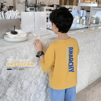 T-shirt White, yellow Haima house 100cm,110cm,120cm,130cm,140cm,150cm,160cm male summer Short sleeve Crew neck Korean version There are models in the real shooting nothing cotton letter Cotton 95% polyurethane elastic fiber (spandex) 5% 0ba03 Class B hygroscopic and sweat releasing Chinese Mainland