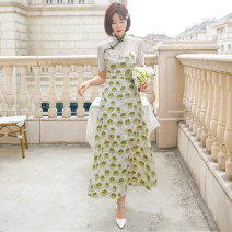 Women's large Summer 2021 white L recommendation 110-125 kg, XL recommendation 125-140, 2XL recommendation 140-155, 3XL recommendation 155-170, 4XL recommendation 170-185, 5XL recommendation 185-200 Dress singleton  commute Self cultivation thin Socket Long sleeves Plants and flowers, solid color