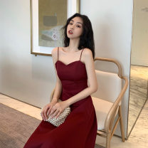 Dress Summer 2020 Red, black Average size Mid length dress singleton  Sleeveless Solid color Socket A-line skirt camisole Type A A12 31% (inclusive) - 50% (inclusive)