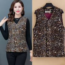 Middle aged and old women's wear Spring 2020 (short) leopard, (short) safflower, (short) blue flower, (long) leopard, (long) red leaf XL,2XL,3XL,4XL,5XL ethnic style Vest Self cultivation singleton  Cardigan moderate V-neck have cash less than that is registered in the accounts Single breasted