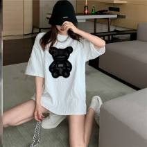 T-shirt M-white-m27, g-black-c70, color ur-m54 Average size Spring 2021 elbow sleeve Crew neck easy Medium length routine commute polyester fiber 31% (inclusive) - 50% (inclusive) 18-24 years old Korean version youth Cartoon animation Other / other J52150 Splicing