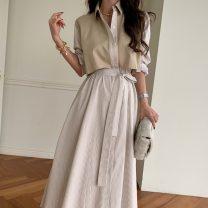 Dress Summer 2021 Khaki, blue, black Average size Mid length dress Long sleeves commute High waist Retro