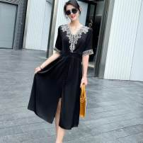 Dress Summer 2021 Black 323, peacock green 323 M,L,XL Mid length dress singleton  Short sleeve commute V-neck middle-waisted Solid color Socket A-line skirt routine Type A court Hollow out, embroidery More than 95% Silk and satin silk