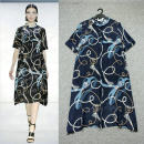 Dress Summer 2020 2XL Middle-skirt Two piece set elbow sleeve street Crew neck Loose waist Decor Single breasted routine printing More than 95% Crepe de Chine silk Europe and America