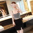 Dress Autumn of 2018 White, black S, M Short skirt singleton  Sleeveless street V-neck middle-waisted Solid color zipper other other Breast wrapping 18-24 years old Europe and America