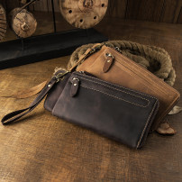 wallet Long Wallet cowhide Simple & nature Light brown dark brown brand new Japan and South Korea male Zipper buckle Solid color 80% off Horizontal style youth Large banknote holder photo position zipper case ID card position Belt decoration polyester fiber top layer leather