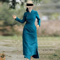 Dress Spring 2021 green L, M longuette singleton  Long sleeves commute stand collar High waist Solid color Single breasted Irregular skirt routine 40-49 years old Type X Retro More than 95% other cotton