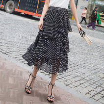 skirt Summer 2020 Average size 1, 2, 3, 4, 5 Mid length dress commute High waist Cake skirt Decor Type A 18-24 years old Other / other Asymmetry, wave Korean version