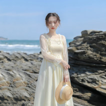 Dress Summer 2021 Light yellow XS,S,M,L Mid length dress singleton  Long sleeves commute square neck High waist Solid color Socket A-line skirt Lotus leaf sleeve Others 18-24 years old Type X Retro More than 95% other other