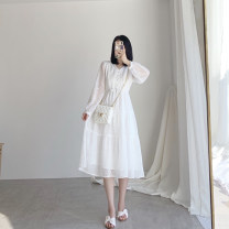 Dress Summer 2021 white XS,S,M,L Mid length dress singleton  Long sleeves commute V-neck High waist Solid color zipper A-line skirt pagoda sleeve Others 18-24 years old Type X Retro Bandages, buttons, zippers More than 95% other other