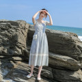 Dress Summer 2021 Gray blue XS,S,M,L Mid length dress singleton  Sleeveless commute square neck High waist other zipper A-line skirt Flying sleeve Others 18-24 years old Type X Retro Stitching, zipper, resin fixation, lace More than 95% other other