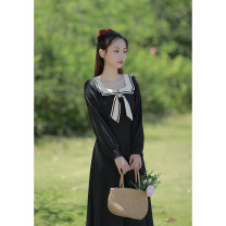 Dress Spring 2021 Black, blue XS,S,M,L Mid length dress singleton  Long sleeves commute Polo collar High waist Solid color zipper other other Others 18-24 years old Type X Retro Bowknot, stitching, bandage, zipper, resin fixation More than 95% other other
