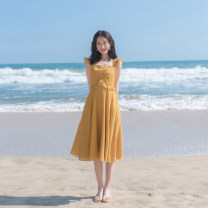 Dress Summer 2021 yellow XS,S,M,L Mid length dress singleton  Sleeveless commute V-neck High waist lattice zipper A-line skirt Flying sleeve camisole 18-24 years old Type A Retro More than 95% other other