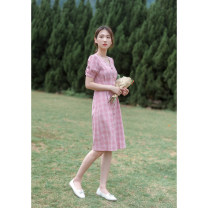 Dress Spring 2021 Pink XS,S,M,L Middle-skirt singleton  Short sleeve commute V-neck High waist lattice Single breasted A-line skirt other Others 18-24 years old Type X Korean version Button, resin fixation More than 95% other other