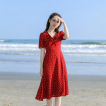 Dress Summer 2021 gules XS,S,M,L Mid length dress singleton  Short sleeve commute V-neck High waist Abstract pattern zipper A-line skirt routine Others 18-24 years old Type X Retro More than 95% other other
