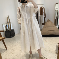 Dress Summer 2021 White, black, grey Average size Mid length dress singleton  three quarter sleeve commute Polo collar High waist Solid color Single breasted routine Korean version Pocket, button
