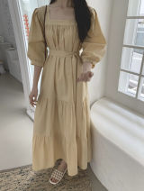 Dress Summer 2021 White, yellow, mint green, light blue Average size Mid length dress singleton  elbow sleeve commute square neck High waist Solid color Socket Cake skirt other Others 18-24 years old Type A Korean version Bow, tie 71% (inclusive) - 80% (inclusive) cotton