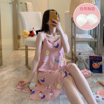 Nightdress Other / other 160(M),165(L),170(XL),175(XXL) Sweet camisole Leisure home Middle-skirt summer Cartoon animation youth V-neck cotton printing 81% (inclusive) - 95% (inclusive) pure cotton 200g and below