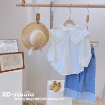 shirt White (spot) Other / other female Size 110 (recommended height about 110cm), Size 120 (recommended height about 120cm), Size 130 (recommended height about 130cm), size 140 (recommended height about 140cm), size 150 (recommended height about 145cm) spring and autumn Long sleeves Korean version