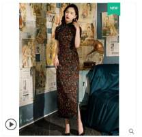 cheongsam Summer 2020 XXL,XXXL,S,M,L,XL,4XL Decor three quarter sleeve long cheongsam grace No slits daily Oblique lapel Decor 25-35 years old Piping other