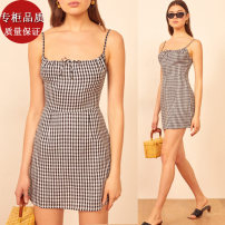 Dress Summer 2021 Black and white check XS,S,M,L,XL Short skirt singleton  commute One word collar High waist lattice A-line skirt camisole 18-24 years old Type A Retro