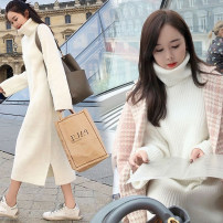 sweater Autumn of 2019 S,M,L,XL White, black Long sleeves Socket singleton  Medium length other 71% (inclusive) - 80% (inclusive) High collar thickening Sweet routine Solid color Straight cylinder Coarse wool Keep warm and warm Other / other
