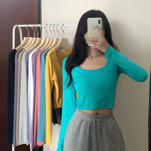 T-shirt white , black , light gray , Emerald green , Lake blue M,L,XL,2XL Autumn 2020 Long sleeves Crew neck Self cultivation have cash less than that is registered in the accounts routine commute polyester fiber 96% and above 18-24 years old Korean version Solid color