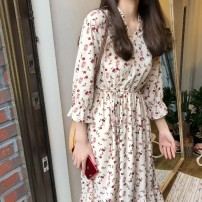 Dress Autumn of 2019 white M,L,XL,2XL Mid length dress singleton  Sweet High waist Broken flowers Socket Irregular skirt pagoda sleeve Others 18-24 years old Splicing 71% (inclusive) - 80% (inclusive) other other