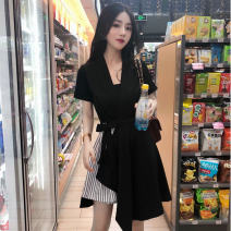 Dress Summer 2020 black M,L,XL,XXL Short skirt singleton  Short sleeve V-neck High waist Solid color Socket Irregular skirt Other / other