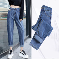 Jeans Autumn 2020 XS,S,M,L,XL,2XL,3XL,4XL,5XL Ninth pants Straight pants routine 25-29 years old Cotton elastic denim light colour Other / other 96% and above