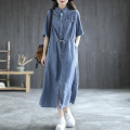Dress Summer 2021 Light blue, dark blue Average size Mid length dress singleton  elbow sleeve Sweet other Solid color other other Others 35-39 years old Type H Carmine feather pocket 51% (inclusive) - 70% (inclusive) Denim other
