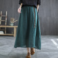 skirt Summer 2021 Average size Black, red, purple, khaki, dark green Mid length dress Versatile Natural waist A-line skirt Solid color Type A 30-34 years old Q0503 51% (inclusive) - 70% (inclusive) Carmine feather hemp printing