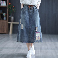skirt Spring 2021 Average size Mid length dress commute High waist A-line skirt Solid color Type A 30-34 years old 51% (inclusive) - 70% (inclusive) Denim Carmine feather cotton pocket
