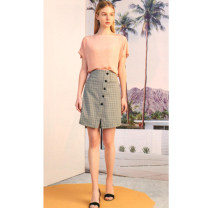 skirt Summer 2021 XS,S,M,L,XL Beige lattice Middle-skirt Versatile High waist Type A O26Q228-1 51% (inclusive) - 70% (inclusive) Other / other