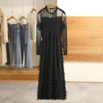 Dress Spring 2021 black S,M,L,XL Mid length dress singleton  Long sleeves Socket Type A Other / other 20C1L133 More than 95% polyester fiber